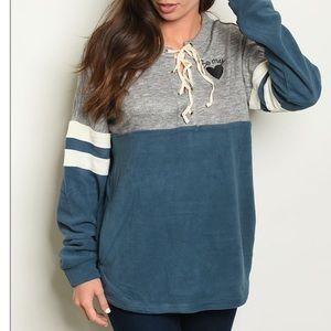 Gray + teal lace up detail fleece sweatshirt